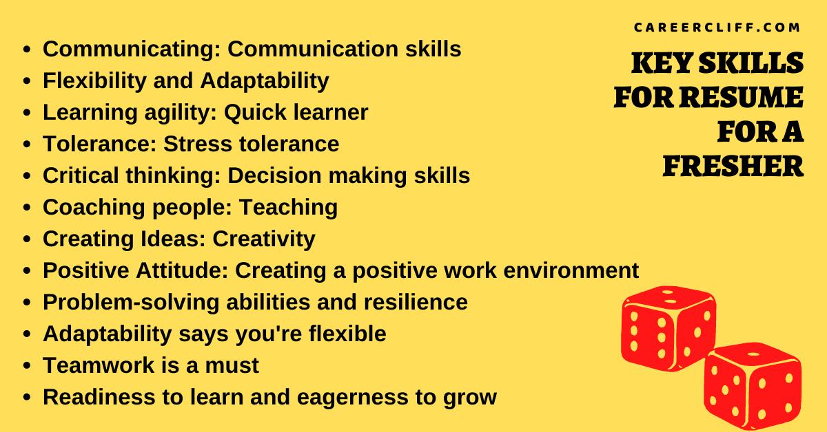 key skills for resume fresher strength in resume for fresher