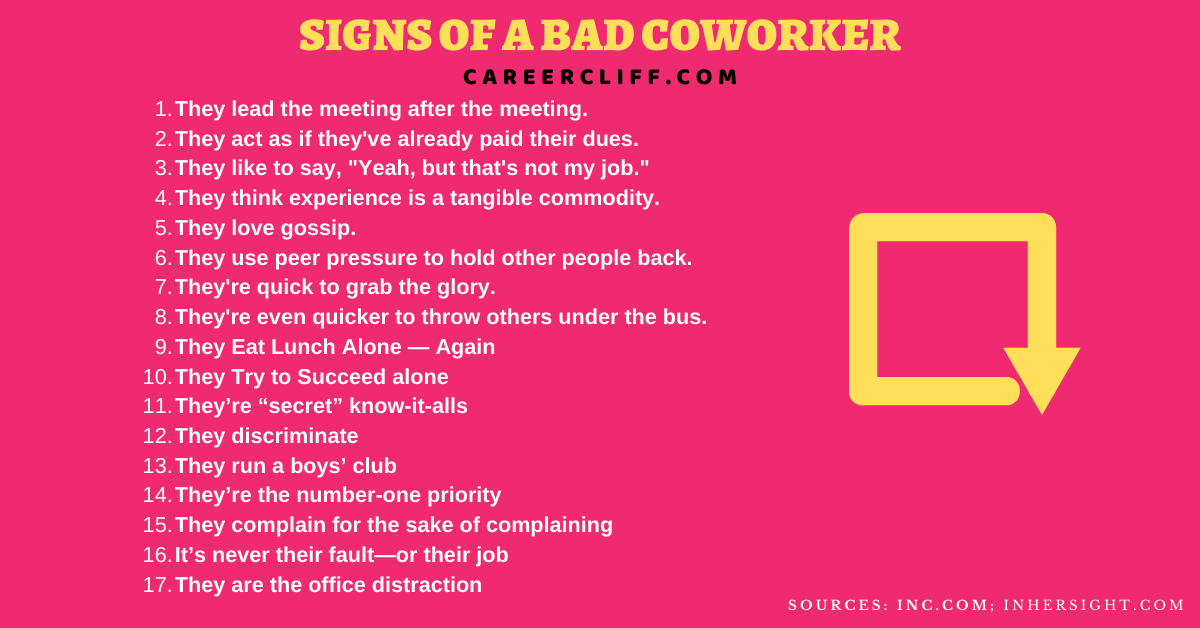 signs of insecure coworkers signs of a bad coworker signs coworkers are intimidated by you signs your coworker has feelings for you signs of a lazy coworker when someone tries to make you look bad at work signs of a sabotaging coworker how to deal with a coworker who undermines you jealous female coworkers signs bad coworkers meme types of toxic coworkers signs coworkers are intimidated by you how to deal with gossipy co-workers toxic employee signs judgmental coworkers anxiety caused by work colleague two faced work colleagues quotes two faced coworkers meme co-worker lies about me to boss how to deal with a coworker you don t trust how to frame someone at work what to do when a coworker confronts you adversarial coworker co worker pointing out mistakes how to deal with sneaky co-workers toxic coworkers reddit how to protect yourself from toxic coworkers are you a toxic coworker how do i know if i'm the problem at work toxic people in the workplace instigating coworkers accused of bad attitude at work how to fix my bad attitude at work do i have a bad attitude quiz zodiac signs with bad attitude supervisor negative attitude your negative attitude can hurt your career coworker called me lazy what to say to a lazy coworker am i a lazy worker how to manage a useless employee lazy people quotes