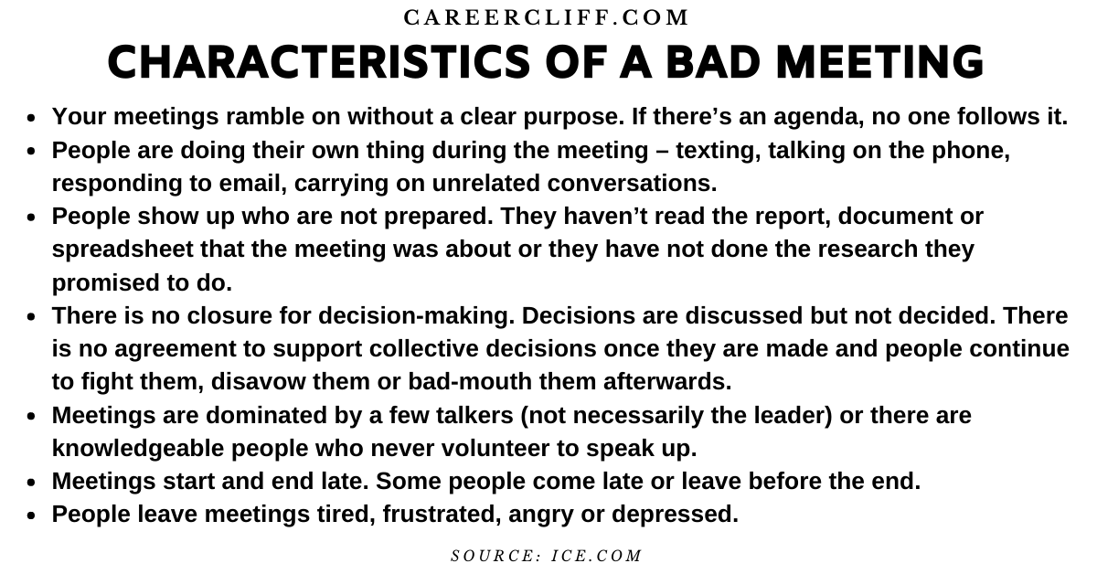 characteristics of a bad meeting bad meeting etiquette good meetings vs bad meetings bad meeting at work when a meeting goes bad describe a bad meeting bad meeting examples meetings are bad bad meeting minutes negative impact of poor facilitation best and worst meetings how to avoid bad meetings ineffective meeting